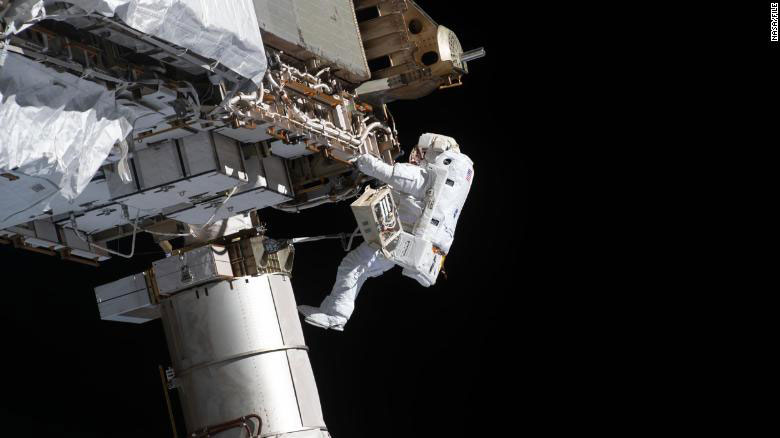 Astronauts Kate Rubins and Victor Glover conducted a Sunday spacewalk